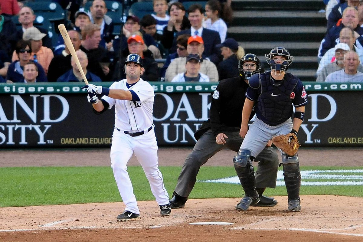June 5, 2012; Detroit, MI, USA; Detroit Tigers catcher Alex Avila (13) bats in the third inning against the Cleveland Indiansat Comerica Park. Mandatory Credit: Andrew Weber-US PRESSWIRE