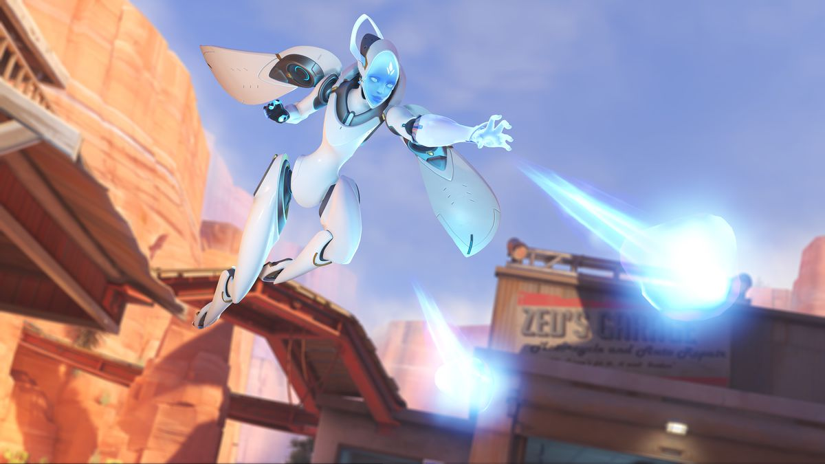 A flying Echo fires her Tri-shot in a screenshot from Overwatch