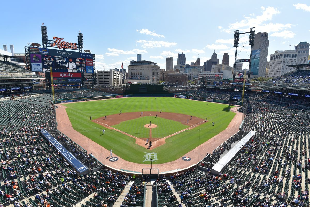 A general view of Comerica Park during the game between the Minnesota Twins and the Detroit Tigers at Comerica Park on September 26, 2019 in Detroit, Michigan.