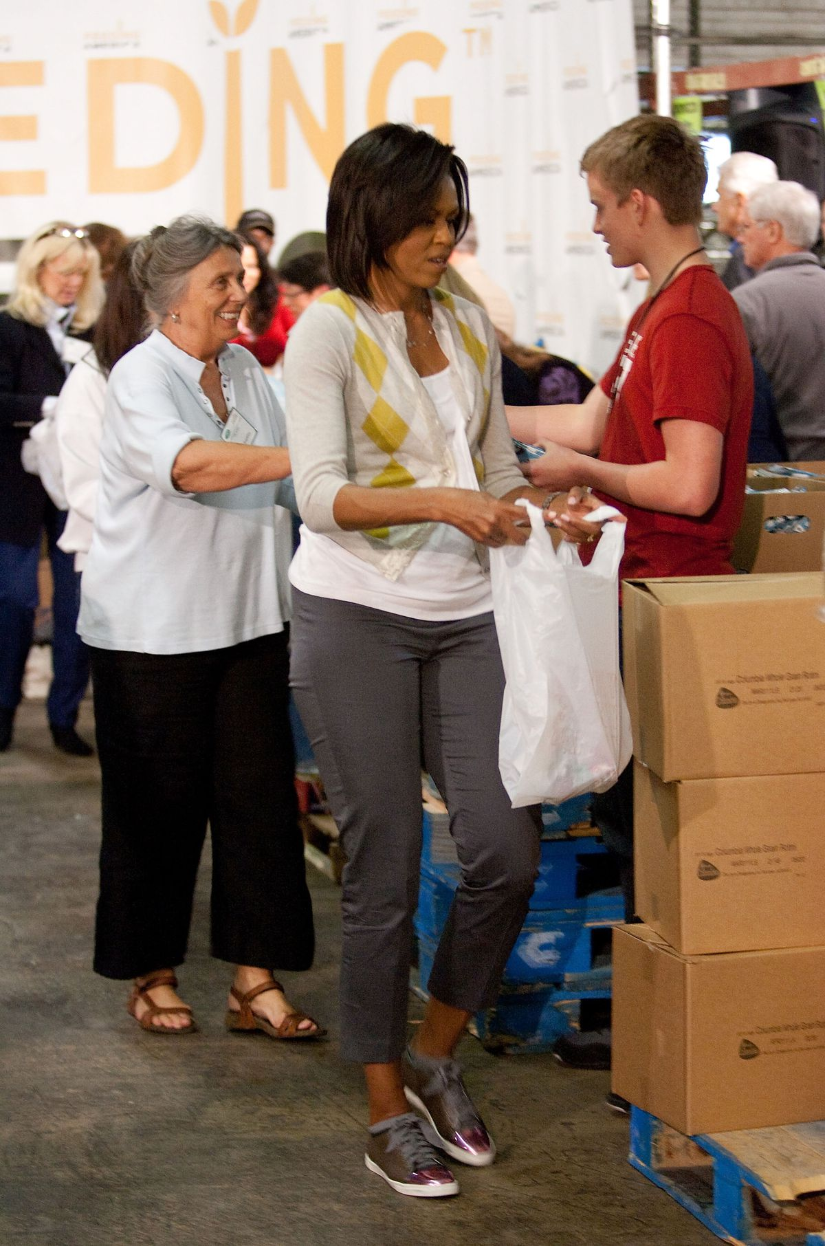 Michelle Obama wearing $540 Lanvin sneakers in April 2009.