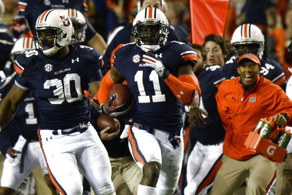 Auburn's Chris Davis returns a missed field goal for the winning touchdown against Alabama.