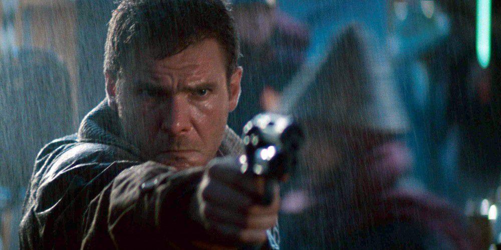 Rick Deckard trains his service weapon in Blade Runner (1982)