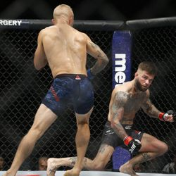 Dillashaw follows a stunned Garbrandt to the ground moments before the fight is called off.