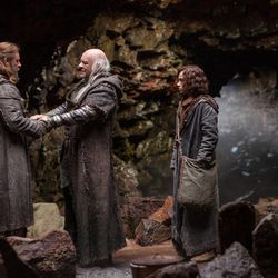 """(Left to right) Russell Crowe is Noah, Anthony Hopkins is Methuselah and Gavin Casalegno is Young Shem in """"Noah,"""" from Paramount Pictures and Regency Enterprises."""