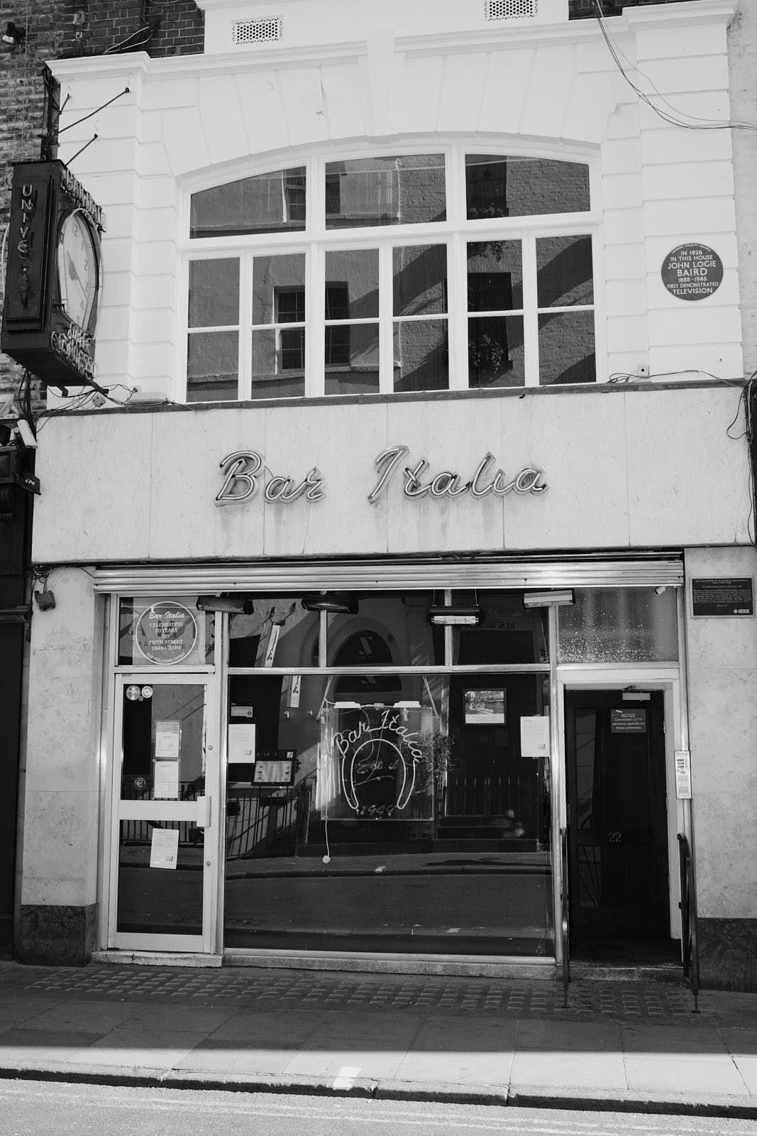 The front of Bar Italia in Soho