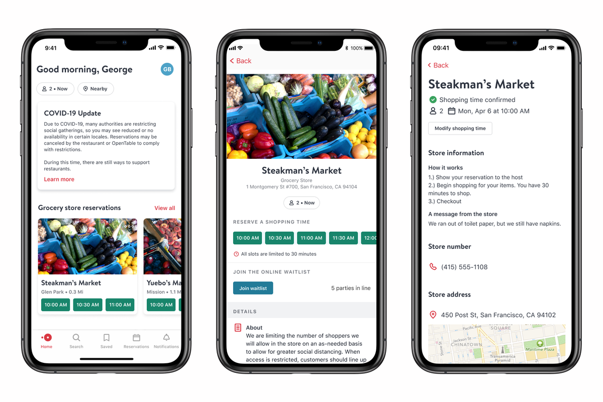 OpenTable announced Monday that it's expanding its reservation software to let users choose between available shoppingtime slots at supermarkets and retailers.