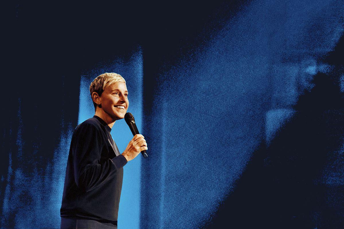 Ellen DeGeneres holding a microphone