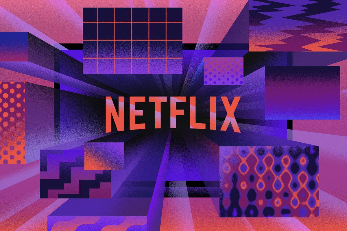 Bright colorful illustration of Netflix logo