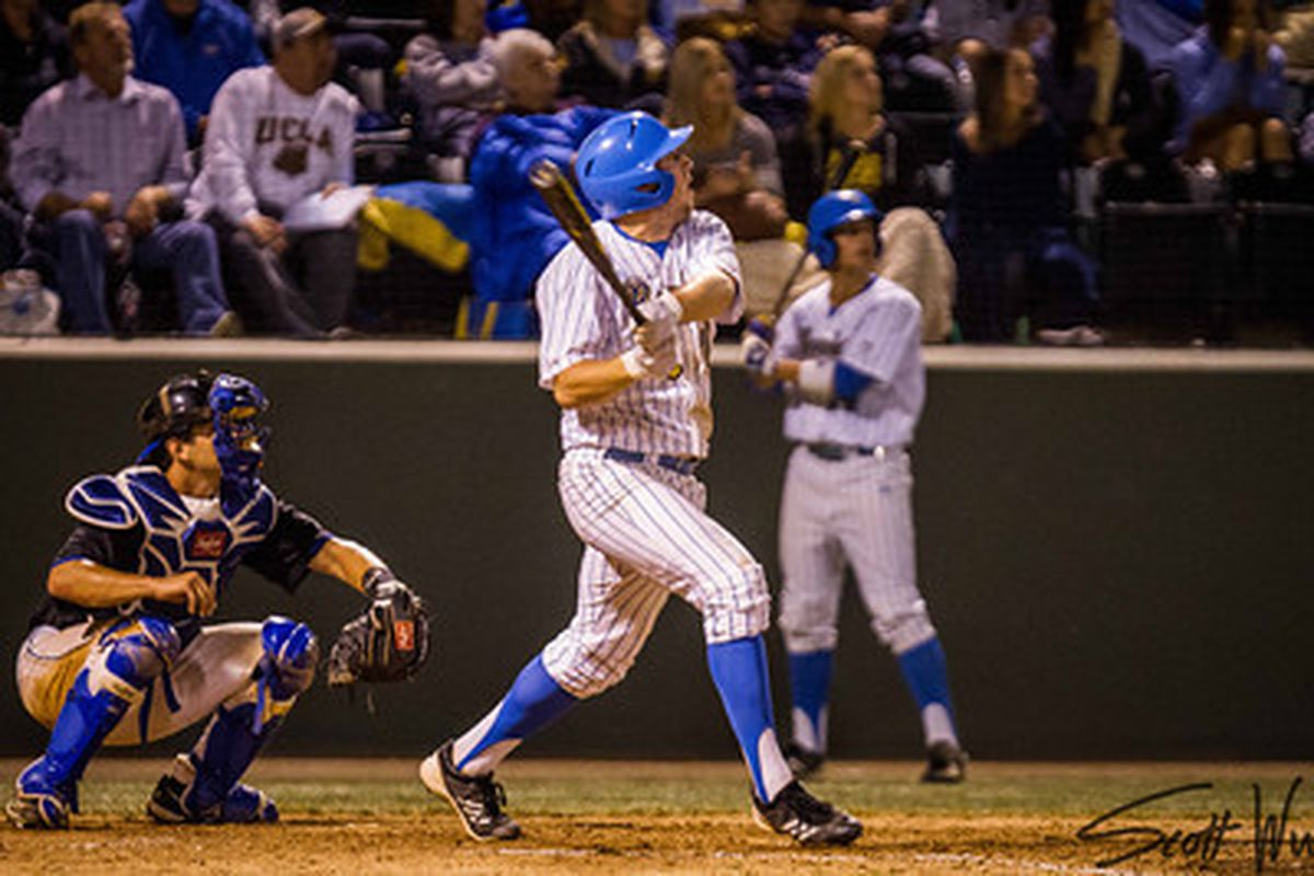 """Cody Regis delivered the big blow in the Bruins' five-run sixth (Photo Credit: <a href=""""http://www.scottwuphotography.com/"""" target=""""new"""">Scott Wu</a>)"""
