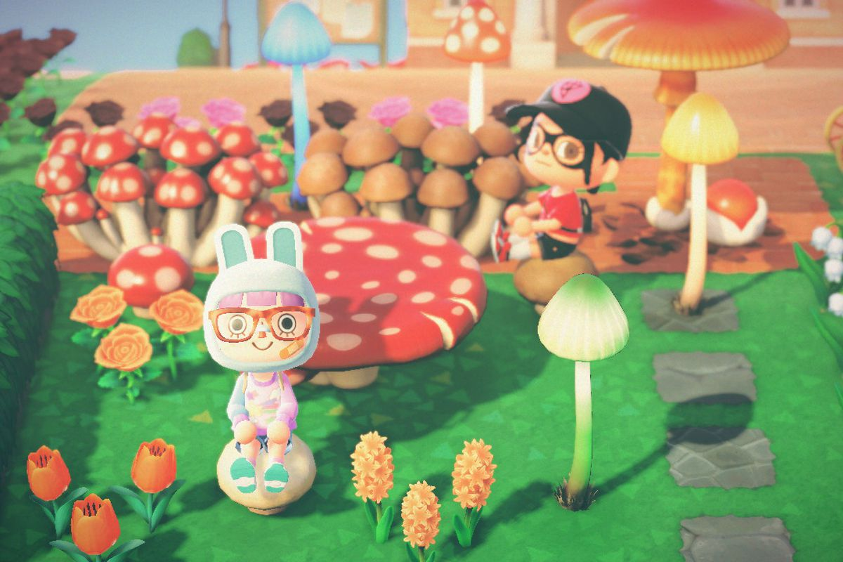 Two Animal Crossing characters sit around a bunch of mushroom furniture