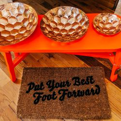 "<b>Tom Dixon</b> Copper Hex Bowl, <a href=""http://beambk.com/products/hexbowllargecopper""> $185</a>"