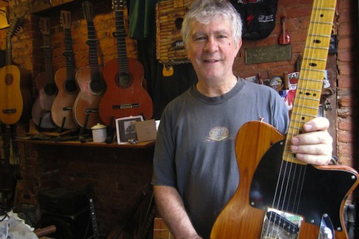 "Rick Kelly of Carmine Street Guitars via <a href=""http://www.dnainfo.com/20110811/greenwich-village-soho/carmine-street-shop-makes-guitars-from-hotel-chelseas-bones"">DNA Info</a>"
