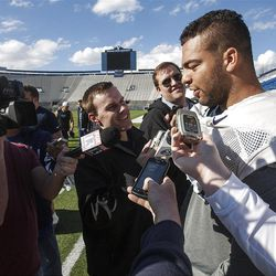 BYU's Kyle Van Noy talks with the media as BYU wraps up their spring football practices Friday, April 5, 2013 with a scrimmage game for the alumni at LaVell Edwards Stadium.