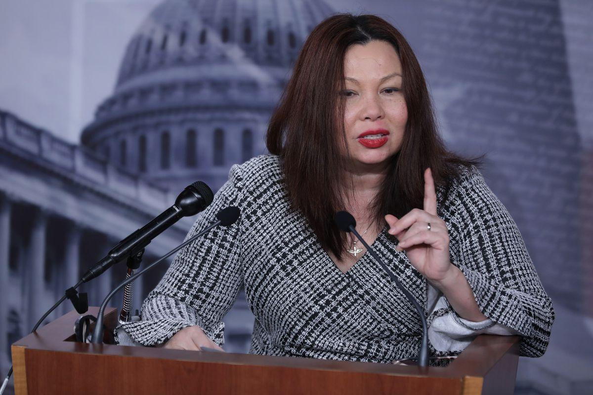 Sen Tammy Duckworth addresses the media at the Capitol.