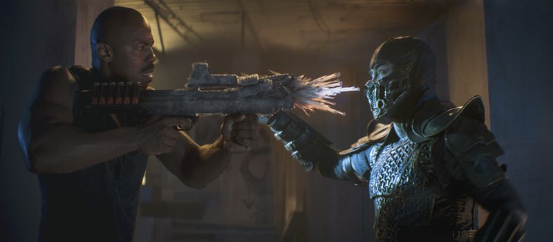 """This image released by Warner Bros. Pictures shows Mehcad Brooks (left) and Joe Taslim in a scene from """"Mortal Kombat."""""""