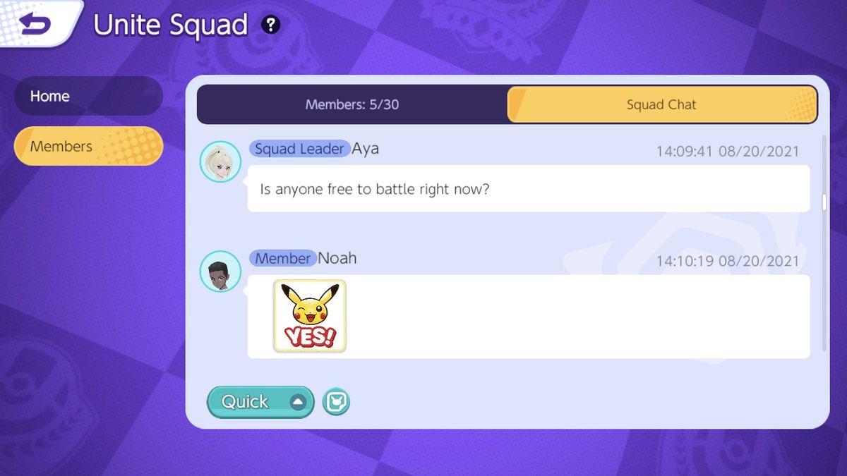 Pokemon Unite's new Unite Squads interface
