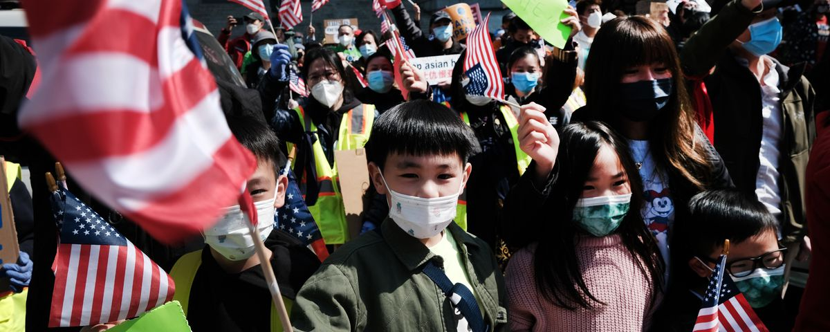NEW YORK, NEW YORK - APRIL 04: People participate in a protest to demand an end to anti-Asian violence on April 04, 2021 in New York City. The group, which numbered near 3000 and was made up of activists, residents and local politicians, marched across the Brooklyn Bridge. After a rise in hate crimes against Asians across the U.S. and in New York City, groups are speaking up and demanding more attention to the issue. (Photo by Spencer Platt/Getty Images)
