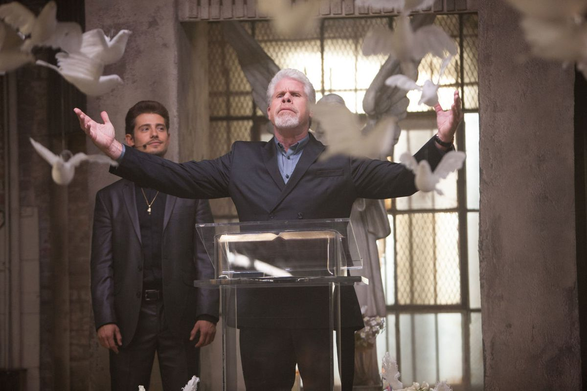Julian Morris and Ron Perlman in Hand of God