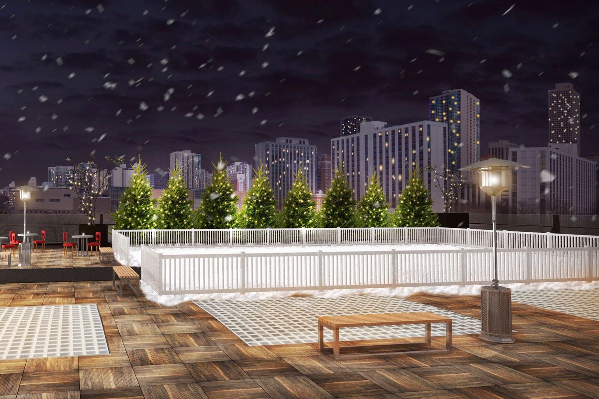 private rooftop skating rink coming to river north next month