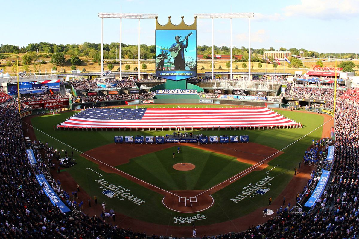 KANSAS CITY, MO - JULY 10:  A general view as singer Phillip Phillips performs before the 83rd MLB All-Star Game at Kauffman Stadium on July 10, 2012 in Kansas City, Missouri.  (Photo by Dilip Vishwanat/Getty Images)