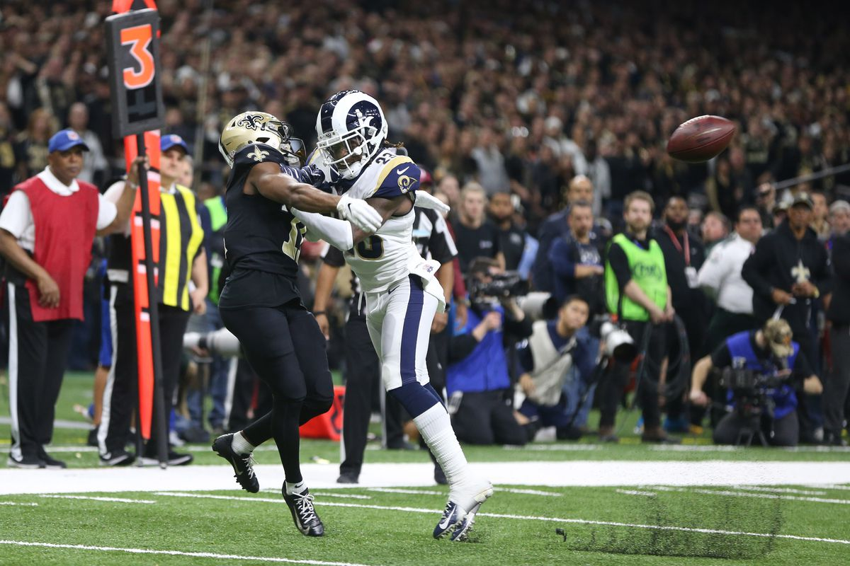 Los Angeles Rams CB Nickell Robey-Coleman commits pass interference, though it goes uncalled, against New Orleans Saints WR Tommylee Lewis during the NFC Championship, Jan. 20, 2019.