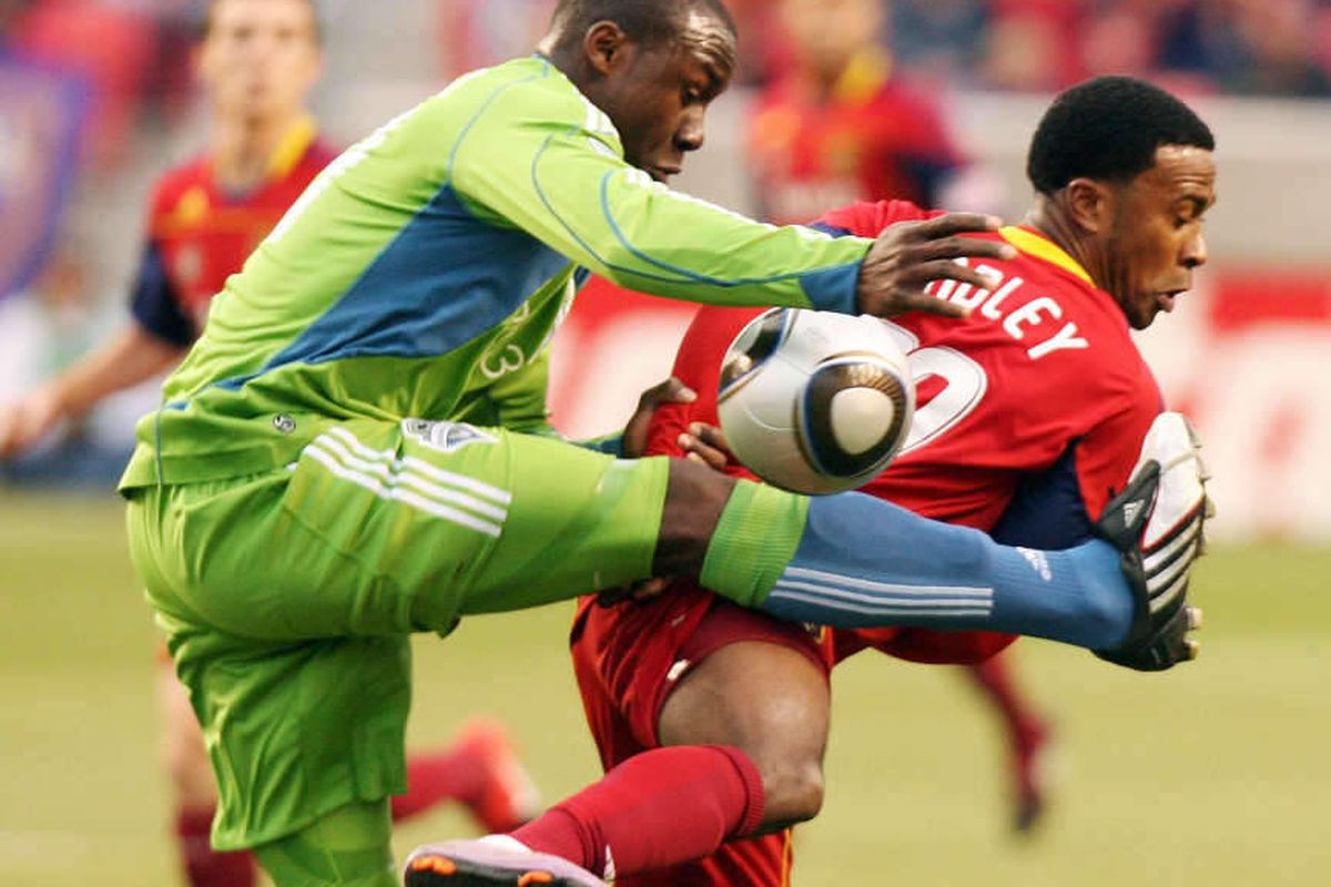 Robbie Findley of Real Salt Lake (right) and Steve Zakuani of the Seattle Sounders battle for control of the ball during the RSL home opener at Rio Tinto Stadium in Sandy Saturday, April 10, 2010  Brian Nicholson, Deseret News