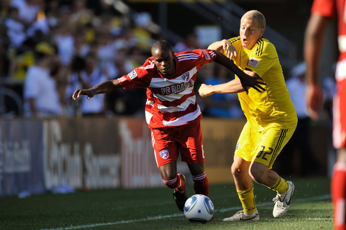 COLUMBUS OH - AUGUST 28:  Steven Lenhart #32 of the Columbus Crew attempts to restrain Jackson Goncalves #6 of FC Dallas on August 28 2010 at Crew Stadium in Columbus Ohio.  (Photo by Jamie Sabau/Getty Images)