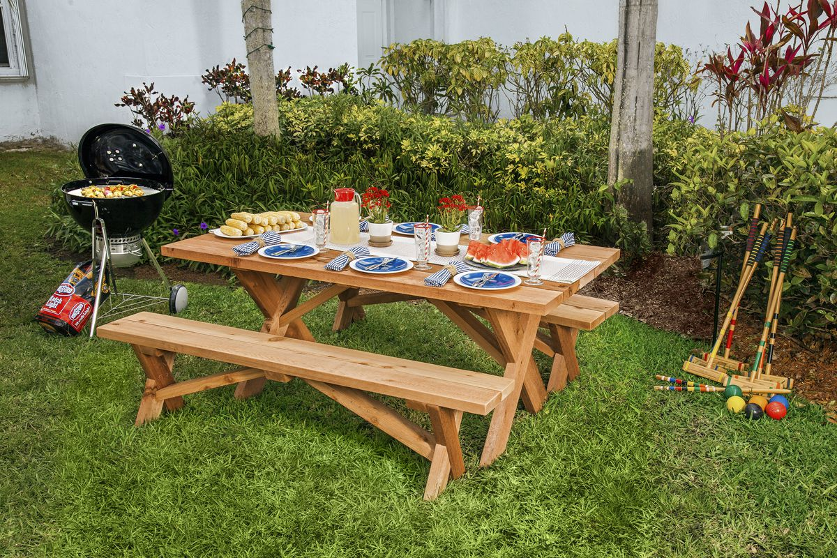x-style picnic table and benches.