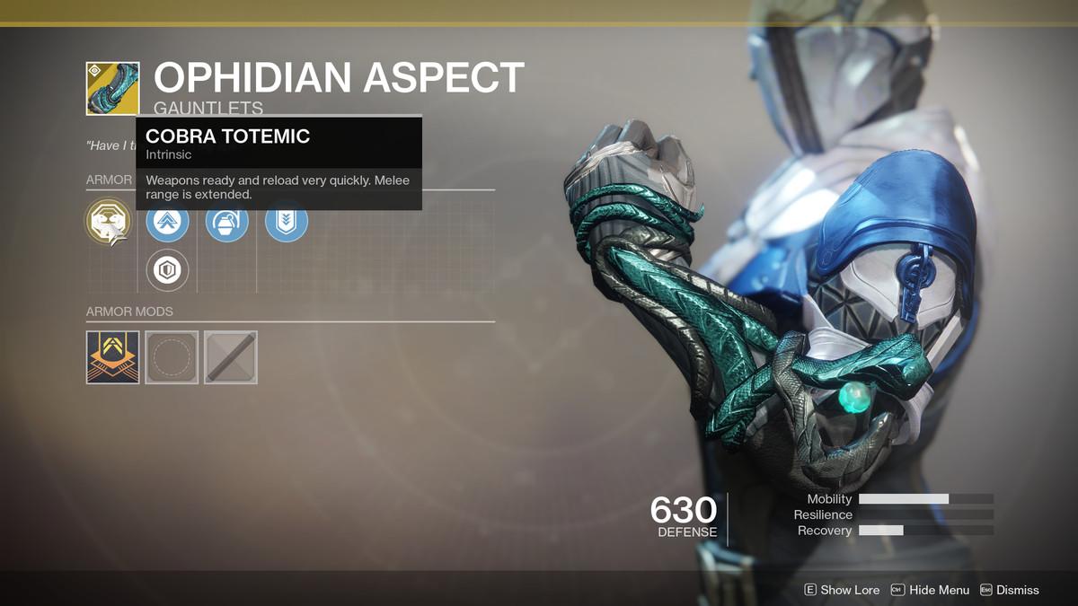 Ophidian Aspect Exotic Destiny 2