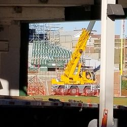 The large crane on the field