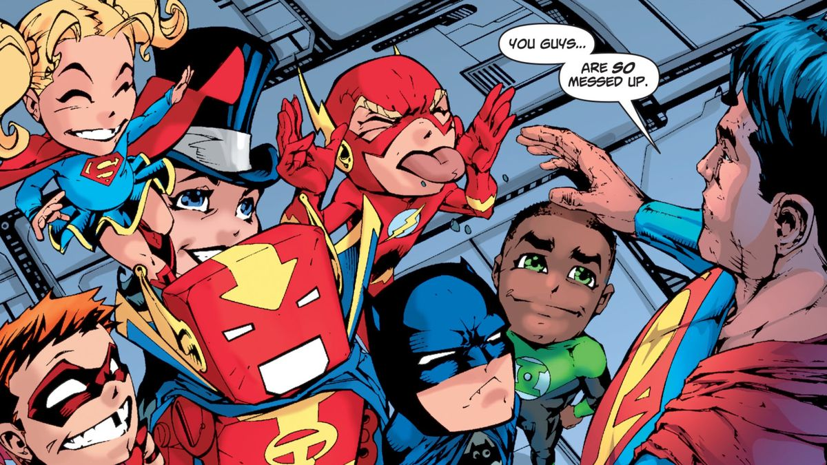 """""""You guys... are SO messed up,"""" Superman tells the Justice League, who appear as tiny, big-headed versions of themselves due to his exposure to enchanted silver kryptonite, in Superman/Batman #46, DC Comics (2008)."""