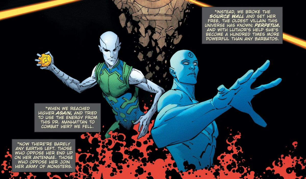 Batman's narration recaps the most recent DC Universe crises, over images of Lex Luthor and Doctor Manhattan, in Dark Nights: Death Metal #2, DC Comics (2020).