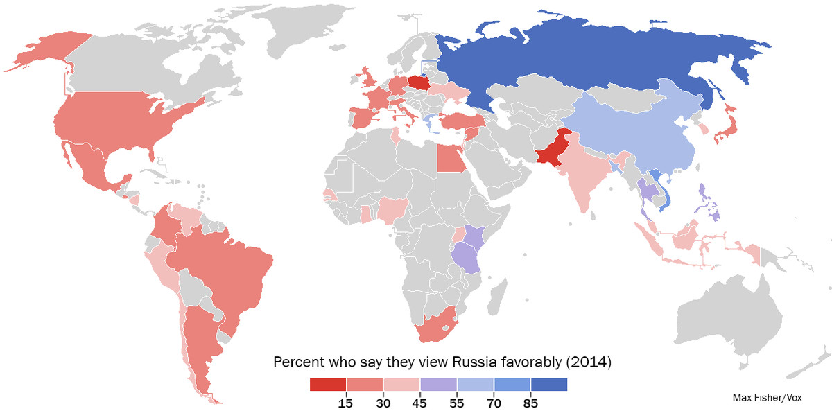 global popular opinion toward russia as of july 2014 data via pew the map shows the proportion