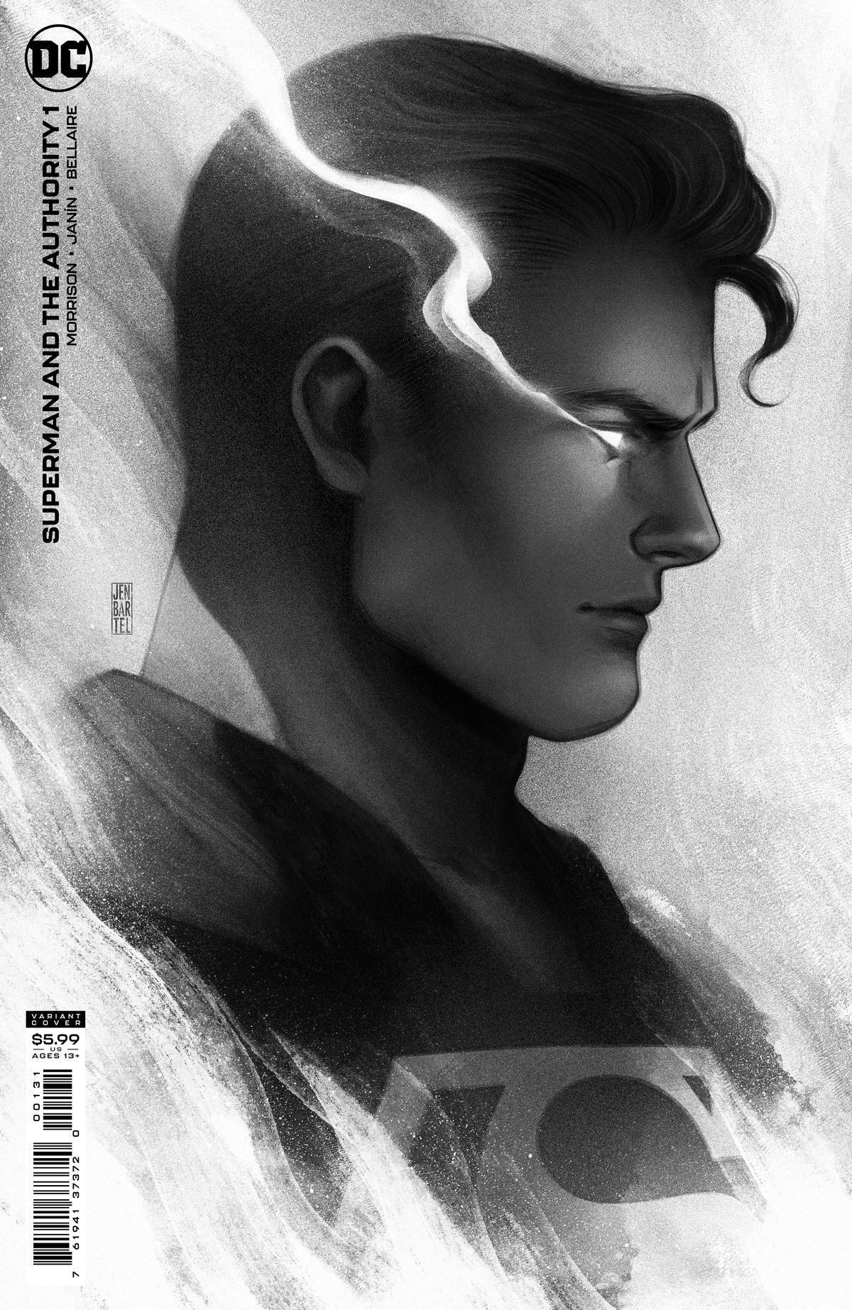 A greyscale profile rendering of Clark Kent/Superman with eyes blazing from his heat vision on the cover of Superman and the Authority #1, DC Comics (2021).