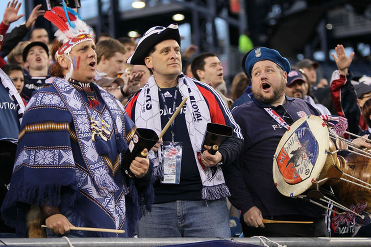 FOXBORO, MA - APRIL 10: Fans New England Revolution show their support before a game between the New England Revolution and the Toronto FC at Gillette Stadium on April 10, 2010 in Foxboro, Massachusetts. (Photo by Jim Rogash/Getty Images)