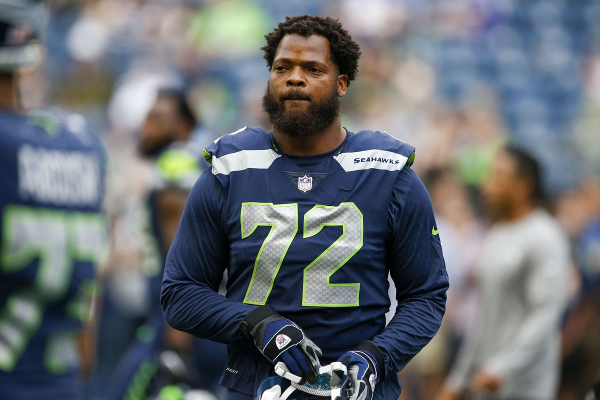 77ca381dd75 Joe Nicholson-USA TODAY Sports. Seattle Seahawks defensive end Michael  Bennett ...