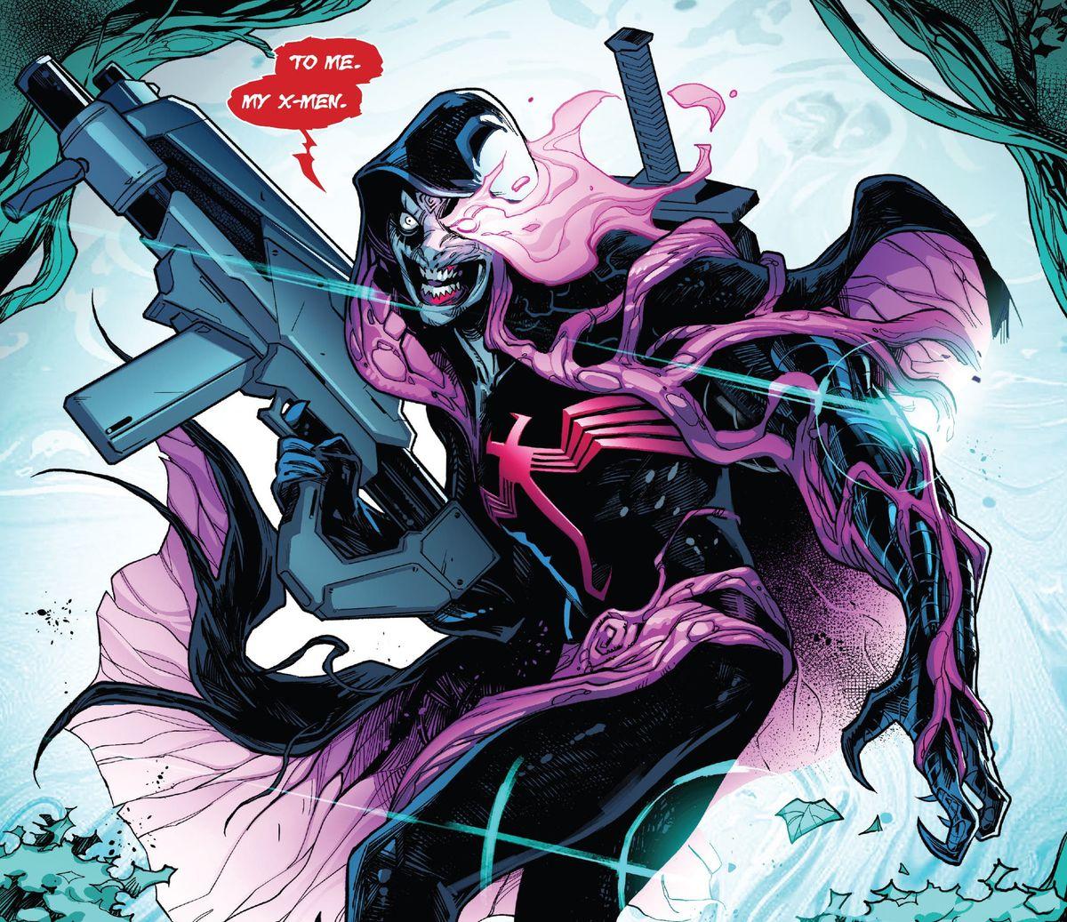 Cable pasa a través de una puerta K, después de ser absorbido por un simbionte de Knull, cubierto con una versión venenosa de su disfraz con capucha, portando una espada y un arma enorme, en ESPADA # 2, Marvel Comics (2021).