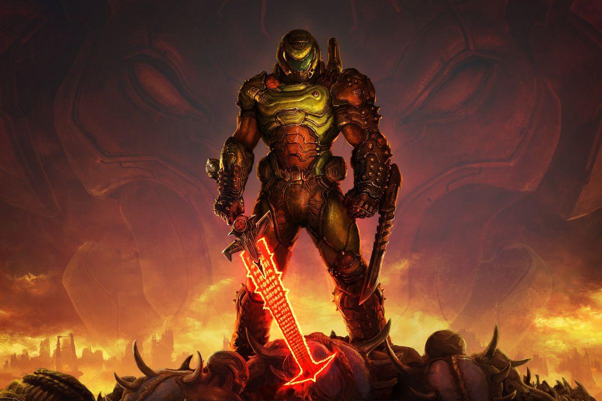 Doomguy stands atop a pile of demon corpses wielding a glowing sword in artwork from Doom Eternal