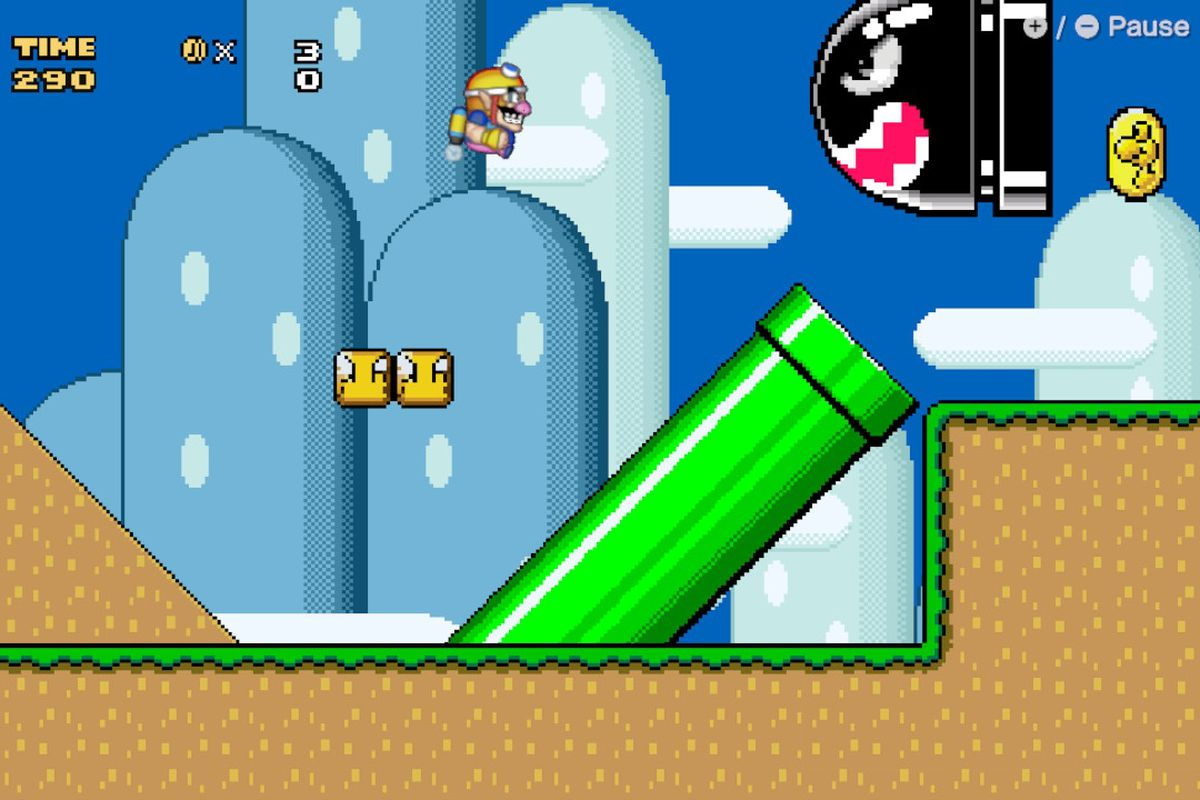 Wario stands up to a Bullet Bill in the Super Mario World microgame in WarioWare: Get It Together!