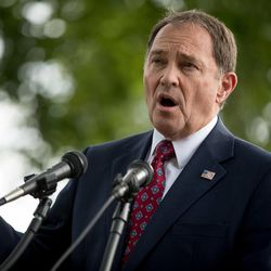 Utah Gov. Gary Herbert speaks at a news conference on the opposition to a proposed national monument in the Bears Ears region in southeast Utah on Wednesday, Sept. 21, 2016, on Capitol Hill in Washington, D.C.