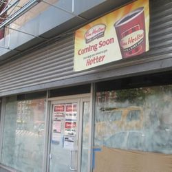 """Tim Horton's at 203 E. Houston St. [<a href=""""http://www.thelodownny.com/leslog/2012/08/tim-hortons-cafe-is-coming-to-203-east-houston-street.html"""">The Lo Down</a>]"""