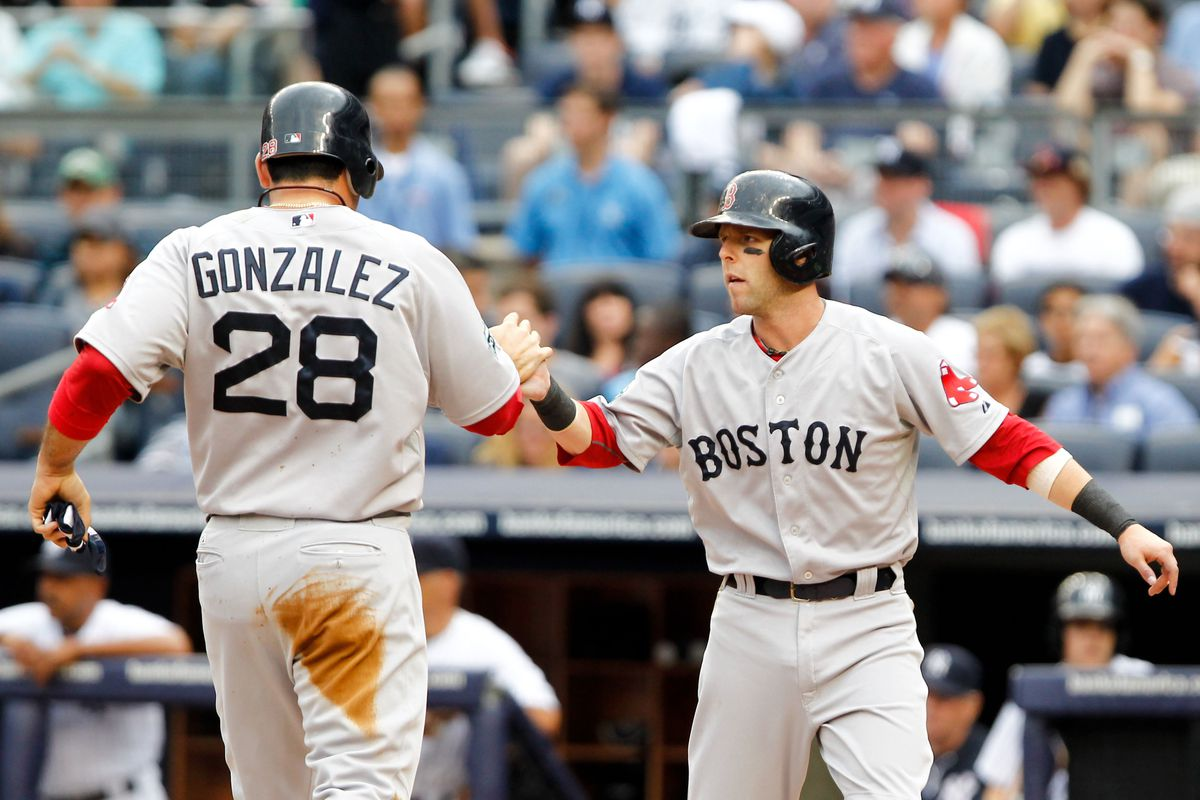 July 28, 2012; Bronx, NY, USA; Boston Red Sox first baseman Adrian Gonzalez (28) is congratulated by second baseman Dustin Pedroia (15) after scoring against the New York Yankees during the first inning at Yankee Stadium. Debby Wong-US PRESSWIRE