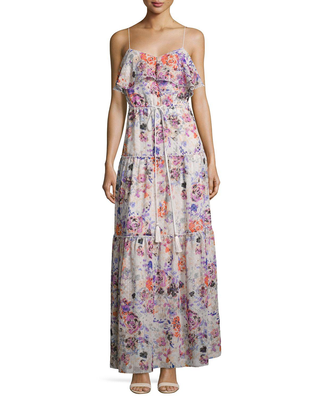 A model wearing a long floral dress