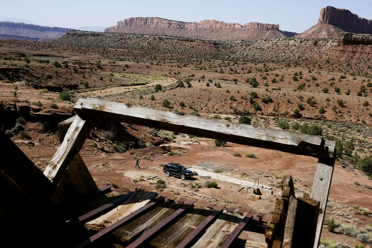 Nick Proctor walks his mining claim in the Colt Mesa area of the former Grand Staircase-Escalante National Monument on Friday, May 14, 2021. The land across the road from his mine is part of the national monument.