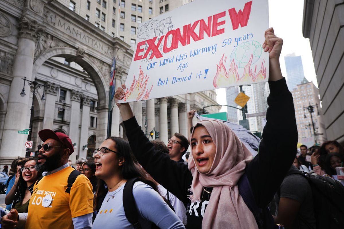 Students walk out of school to take part in a march to demand action on the global climate crisis on September 20, 2019 in New York City.
