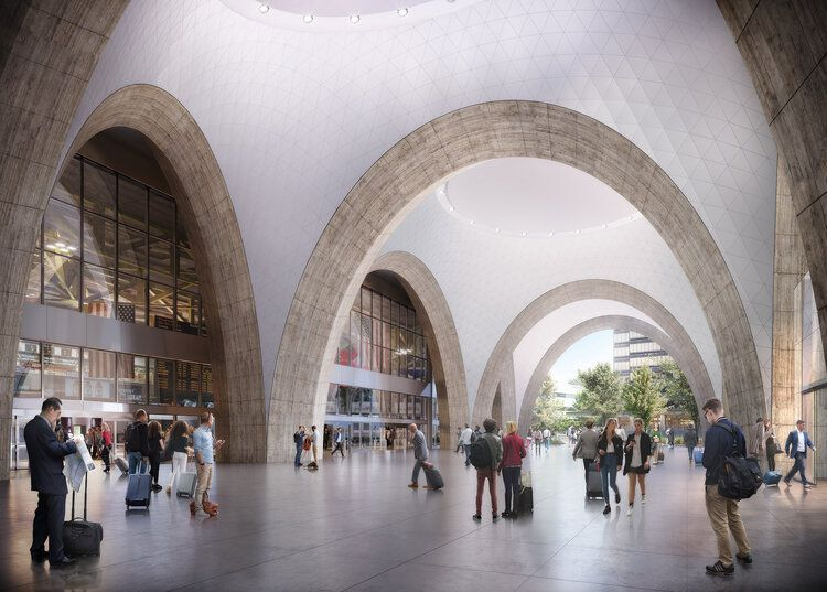 Rendering of a capacious train station concourse.