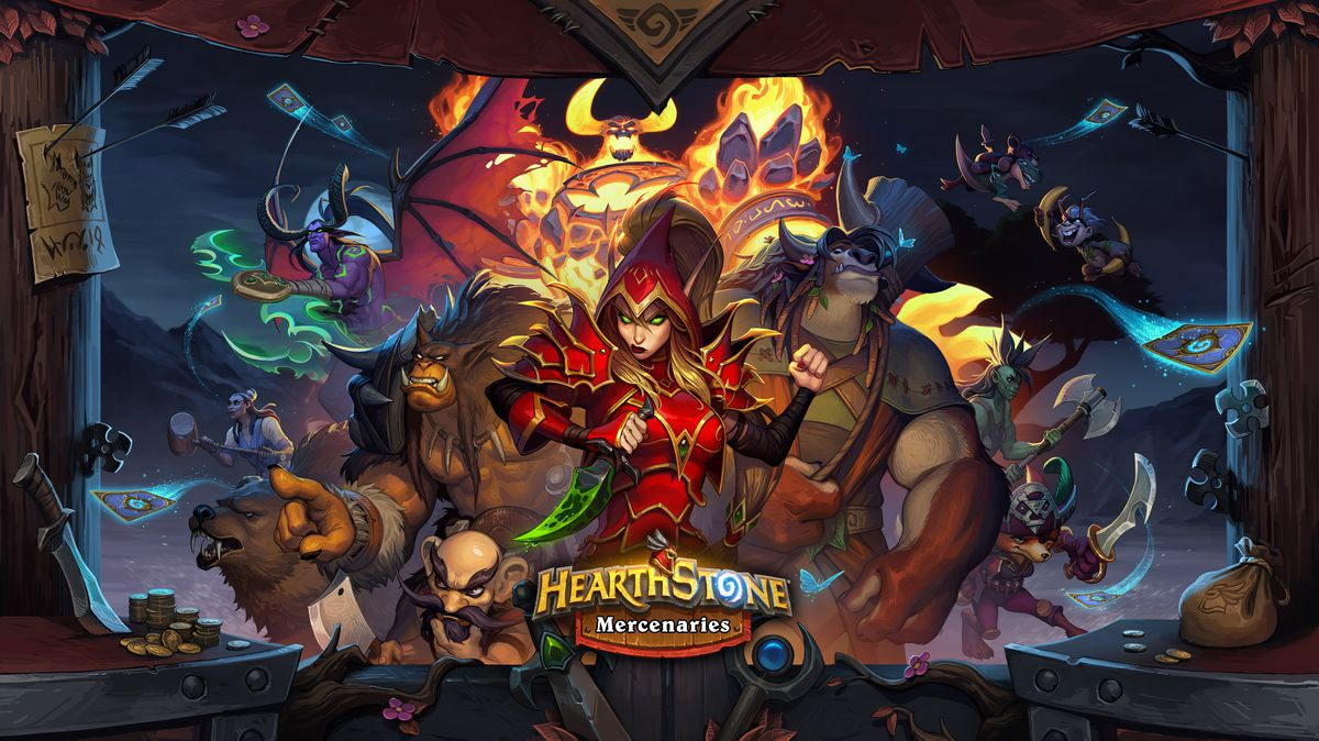 Hearthstone - a cast of characters, including the bloodthirsty villain Valeera, Ragnaros Firelord, Illidan and other different characters, all make up the game's Mercenaries key art.