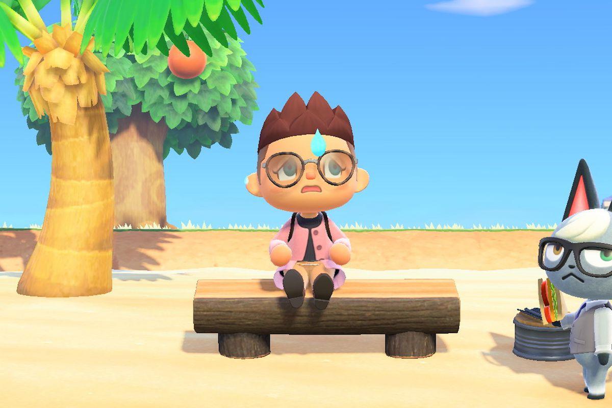 A sad villager in Animal Crossing.