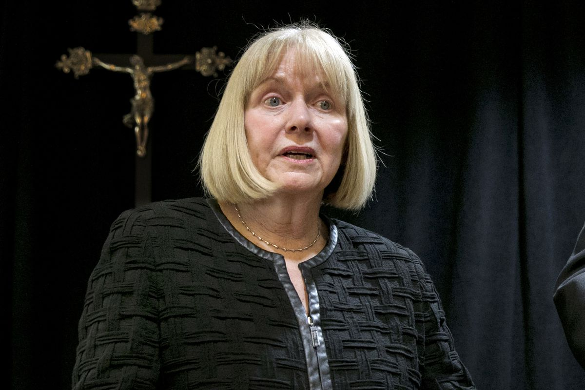 In this Sept. 20, 2018 file photo, former federal judge Barbara Jones address a news conference at the offices of the New York Archdiocese, in New York.