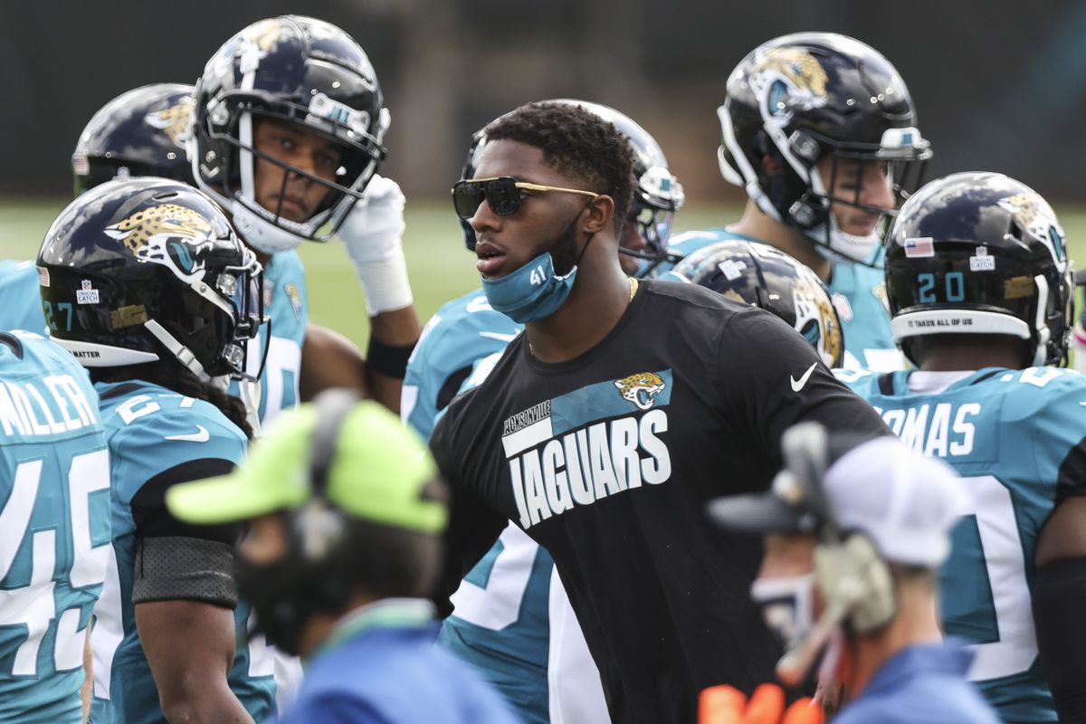 Josh Allen #41 of the Jacksonville Jaguars looks on from the sidelines during a game against the Detroit Lions at TIAA Bank Field on October 18, 2020 in Jacksonville, Florida.